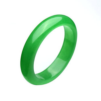 Parma77 Burmese Natural Green Jade Bangle AAA Jadeite Flawless 56mm--62mm Good Luck Bracelet (Large)
