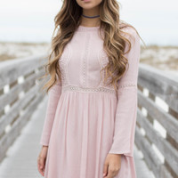 Valentine Bluff Misty Pink Long Sleeve Dress