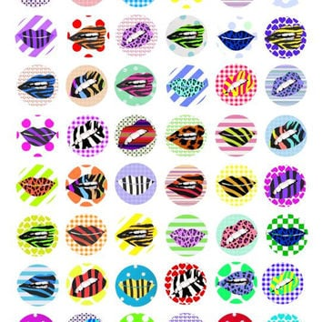 "womans lips mouth animal print clip art  1"" circles 25mm digital download collage sheet for pendants bezel trays glass cabochons cameos"