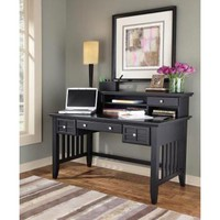 Home Styles Furniture 5181-152 Arts and Crafts Black Executive Desk and Hutch