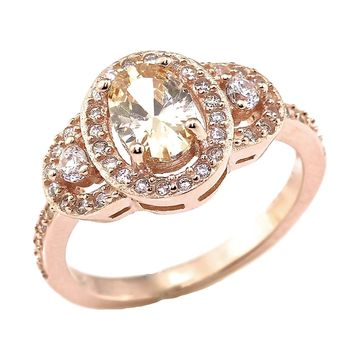 Oval Simulated Peach Morganite and CZ Rose Gold Over Sterling Silver Three Stone Bridal Wedding Engagement Ring (1.5cttw)