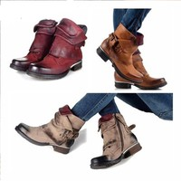 Women Vintage Polish Martin Boots Leather Buckle Combat Riding Ankle Boots