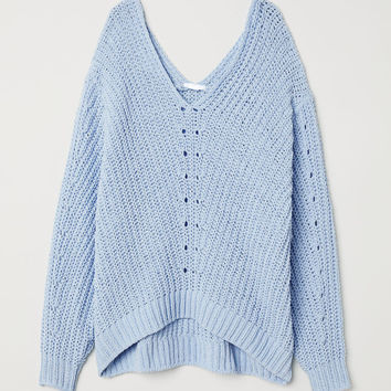 V-neck Sweater - Light blue - Ladies | H&M US