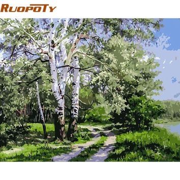 RUOPOTY Forest Landscape DIY Digital Painting By Numbers Unique Gift Acrylic Picture Modern Wall Art Hand Painted Oil Painting