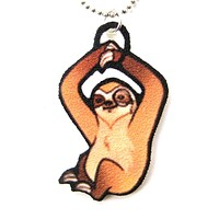 Illustrated Sloth Shaped Animal Pendant Necklace | Handmade Shrink Plastic