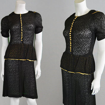 Vintage 1930s Dress Silk Chiffon Silk Jacquard Bias Cut Puff Sleeve Sheer Dress Peplum Dress Evening Dress Great Gatsby Hollywood 30s Dress