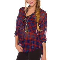 Four Stars Plaid Top