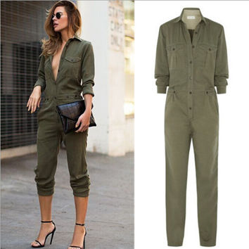 S/M/L/XL New Hot Women's Ladies Army Green Long Sleeves Turn-down Collar Buttons Closure Slim Playsuit Romper Jumpsuits