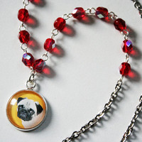 Yellow pug pendant necklace with red beads, pug jewelry, gift idea with pugs, rosary style necklace, pug necklace. Statement necklace
