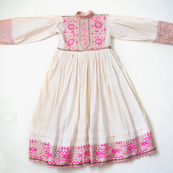 KUCHI Antique Afghanistan Pakistan dress for girl rich silk handmade embroidery silver wire Folk Athletic  Rare  Free Shipping