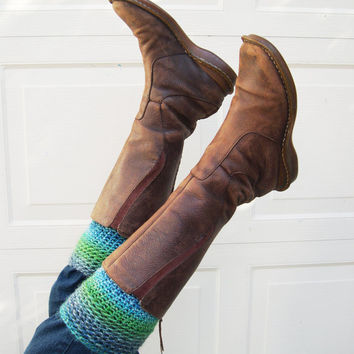 Emerald Green Leg Warmers Boot cuffs in Turquoise Crochet Boot Toppers Chunky Boot Socks Cozy Boot Cuff Winter Fashion 2013 wool leg warmers