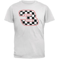 Racing Number 3 Checkered Flag White Adult T-Shirt
