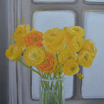 Giclee Print of Original Oil Painting,Still Life Painting,Buttercup,Yellow Flowers,Ranunculus,Floral Painting,Flower Painting,8x10 Print