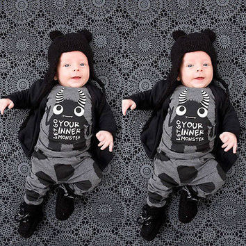 Newborn Baby Boy Girl Toddler Monster Letter Printed T-shirt Tops+Pants Leggings 2pcs Outfits Set Costume 0-24