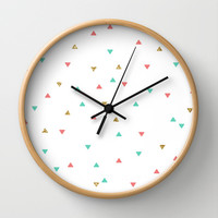 Mint Coral Gold Glitter Triangle Scatter Wall Clock by Doucette Designs