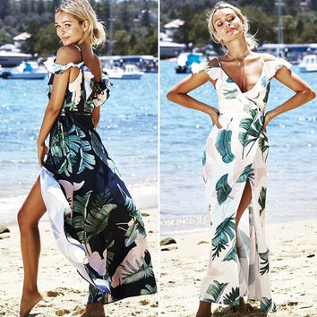 Tropical plant dress