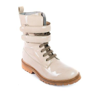 Brunello Cucinelli Women's Patent Leather Combat Nude Boots