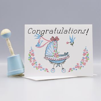 Baby Buggy New Baby Congratulations Card