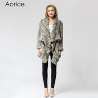 CR060-1 Knitted knit 100% real rabbit fur coat overcoat jacket Russian women's winter thick warm genuine fur coat