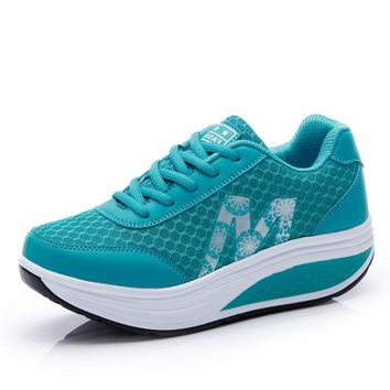 Women's Sneakers Platform Toning Wedge Light Weight Zapatillas Sports Shoes for Woman Breathable Slimming Fitness Swing Shoes