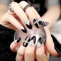 24pcs/set fashion style environmental friendly Acrylic glue resin False Nails glitter rhinestone black color Fake Nails Tips