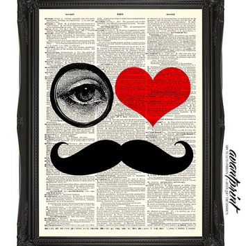 I HEART Mustaches Tribute to Beard Clubs  Print on an Unframed Upcycled Bookpage