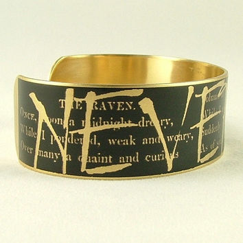The Raven - Edgar Allan Poe Jewelry - Nevermore - Literary Quote SLIM Brass Cuff Bangle - Black and Gold Bracelet