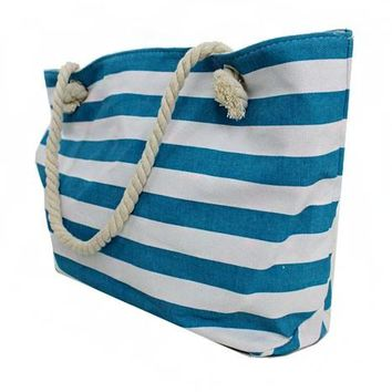 Monogrammed Stripe Canvas Beach Tote - Turquoise