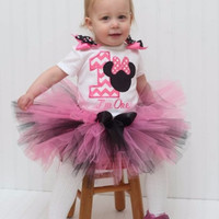 1st Birthday Outfit Hot Pink Minnie Mouse Chevron Tutu First Birthday