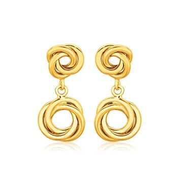14K Yellow Gold Love Knot Stud Earrings with Drops