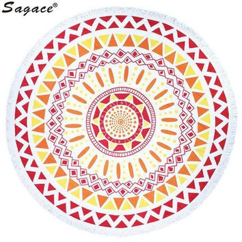 Trendy Boho Print Tassel Shawl Decor Art Round Hippie Tapestry Beach Throw Roundie Mandala Towel Yoga Mat Bohemian Wrap Aug22