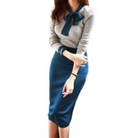 New Spring Autumn Slim Sweater Dress Pencil Dress Casual Women Knitted Long Sleeve Office Dresses Long Bodycon Dress Vestidos