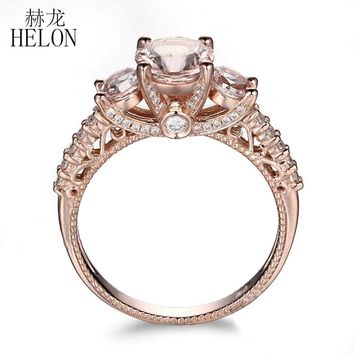 HELON Solid 10K Rose Gold Pave Lightest Pink Morganite Round Full Cut Natural VS Diamonds Wedding Anniversary Women Jewelry Ring
