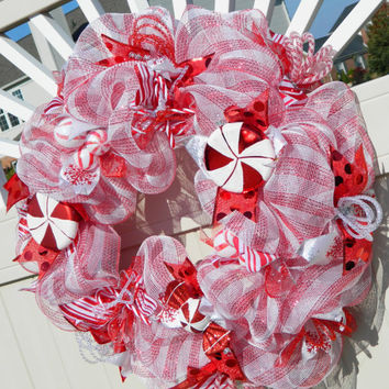 Christmas Wreath - Candy Cane Peppermint Deco Mesh - Holiday Wreath Xmas