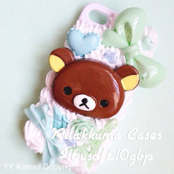 Custom made Kawaii Rilakkuma Phone Case for IPhone 4/4s 5, 5s, 5c, samsung Galaxy S2 S3 S4 HTC One and HTC One X