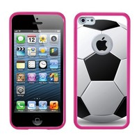 One Tough Shield ® Hybrid Flexible/Rigid Phone Case (Pink Bezel) for Apple iPhone 5 5s - (Soccer)