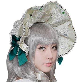 Partiss Womens Classic Sweet Lolita Bow Hairband Printing Headband Vintage Hat