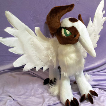 Pokemon inspired shiny Mega Absol (45x60x75 cm) plushie made of minky, very cuddly with poseable wings!