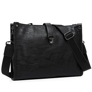 Latest Arrival Black Leather Messenger Bag Mens Cross Body Shoulder Bags Luxury Business Envelope Bag