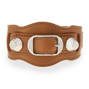 Giant 12 Leather Buckle Bracelet, Tan - Balenciaga