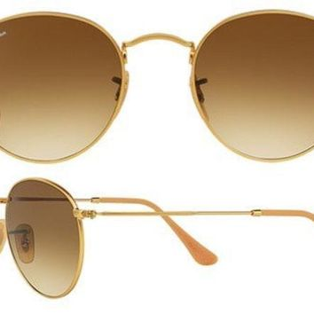 VOND4H Ray Ban Aviator RB3447 Round Sunglasses 112/51 Gold With Brown Gradient Lens