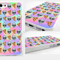 Tie Dye, alien, pizza, Emoji, iPhone 4,4s, 5C, 5S,5, glossy cover Case, pastel