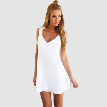 White V-Neck Floral Lace Embroidered Cross Back A-Line Swing Mini Dress