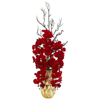 Artificial Flowers -Red Phalaenopsis Orchid Arrangement in Gold Vase
