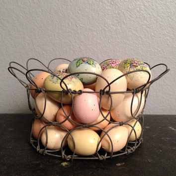 Antique Vintage French Wire Basket with Hand Painted Eggs.  Collapsable and Adjustable Basket.