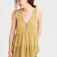 AE Printed Cross Back Boho Shell Top, Yellow
