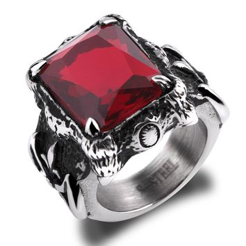 Men's Large 316L Stainless Steel Ring CZ Silve Black Red Dragon Claw Knight Fleur De Lis Vintage Gothic