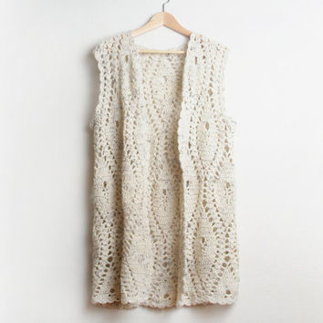 Vintage Hand Crochet Long Sweater Vest in Light Earth Tones size Large