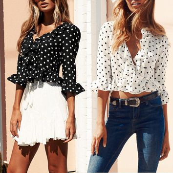 Summer Women Polka-dot Ruffle Half Sleeve V-neck Crop Top Blouse Chiffon T-shirt