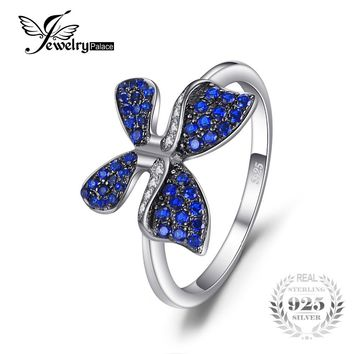 JewelryPalace Butterfly 0.3ct Created Blue Spinel Statement Ring Solid 925 Sterling Silver Rings For Girls Fashion Party Jewelry